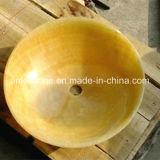 Lavabo jaune de cuisine de pierre d'Onyx