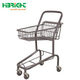 スーパーマーケットの金属はフラグが付いているショッピングトロリーカートをからかう
