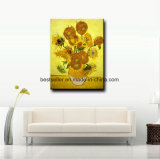 100%Hand-geschilderd Olieverfschilderij van Zonnebloemen