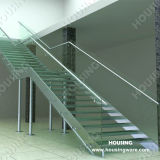 Tempered Galss Interior Staircase를 가진 스테인리스 Steel