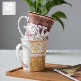 Posséder la cuvette de thé en gros de porcelaine de la Chine de logo