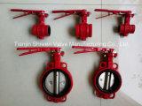 Красная Grooved клапан-бабочка конца с рукояткой руки