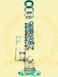 Tubo di acqua di fumo di vetro di vetro verde del portacenere del mestiere della ciotola alta di colore del tabacco del riciclatore degli impianti offshore della LIMANDA del microscopio del riciclatore di Pyrex del Borosilicate