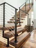 Cantilevered escalera de madera maciza de acero con revestimiento en polvo de ancho de vía de la escalera y pasamanos de cable de color negro.