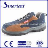 Sapatas de segurança do couro genuíno do plutônio Outsole com dedo do pé de aço e a placa de aço