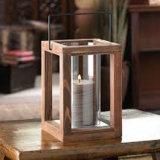 Lanterna di legno della candela del giardino rustico da 9 pollici