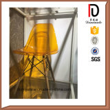 Silla de cena plástica moderna amarilla transparente de Eames Dsr