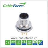 Разъем панели M12 8pin мыжской прикрепленный задим круговой с контактами для занавеса света техники безопасности на производстве, светлой решеткой PCB, переключателями