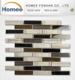 Tipos decorativos azulejo de mosaico al azar de piedra de cristal gris claro de tira