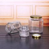 45ml 400ml jarro de vidro hexagonal boiões de vidro transparente com tampa brilhante