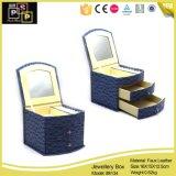 Joyas de cuero de PU elegante caja de almacenamiento de cosméticos