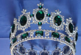 Tiara Короны невесты раунда Crystal Diamond наград Европейского Короны Vintage барокко украшения свадебные Короны (J01)