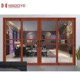 Customzied porte coulissante intérieure en aluminium avec double vitrage