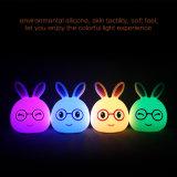 Het LEIDENE van het Konijn van het silicone Licht van de Nacht voor LEIDENE van Cuterabbit van de Sensor van de Aanraking van Jonge geitjes Lamp