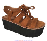 Semelle PU Lady cuir femmes Gladiator Marine Chaussures avec Shoelace