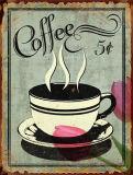Signe d'étain métal Café Premium