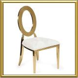 타원형 금속 뒤를 가진 스테인리스 연회 의자를 식사하는 최신 승진 저가 결혼식