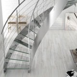 Interior Wood Straight Staircase with Frameless Glass Railings