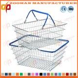 Cesta de compra plástica pequena do punho do fio de metal da loja de Comestics (Zhb145)