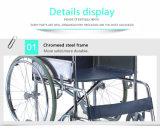 Ручная стальная складная кресло-коляска Tsw809 для рынка Standrad с фикчированными подлокотником & Footrest