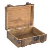 ハンドルが付いている卸し売り木製のトランクの自然な終わりの木箱