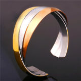 African Style Adjustable Stainless Steel Cuff Bracelet Gold Plated Polishing Bangle Imitation