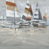 ホーム装飾のためのHouseの油絵による卸し売りハンドメイドのボート