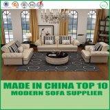 古典的な家具はコーヒーテーブルとセットされたチェスターフィールドのイタリアの革ソファーを房状にしていた