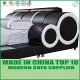중국 LED 빛을%s 가진 현대 특대 진짜 가죽 침대