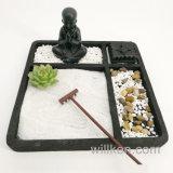 Bouddha sur la décoration de plateau de sable avec le jardin de Zen de support