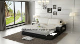 LEDが付いている贅沢で高貴な家具の寝室の革ベッド