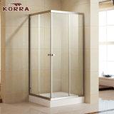 Boîtier de douche en verre trempé avec deux portes coulissantes (K-331)
