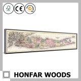 Peinture de décoration de carte de cru avec le bâti en bois pour la décoration de mur