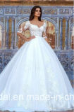 V 네클라인 신부 복장 레이스 Tulle 크기 결혼 예복 F60 플러스 3/4의 소매