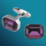 Botão de punho franceses de cristal roxos 175 de Gemelos da camisa de VAGULA