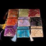 La nueva mezcla de 10 PCS/Lot colorea bolsas chinas de la joyería del monedero de la moneda de la cremallera de los pequeños de la flor de la borla bolsos cuadrados de seda de la moneda al por mayor