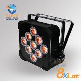 Der China-Stadiums-Licht-Lieferant von Hexagon V9 5in1 Rgbaw UV aufgebaut im drahtlosen LED-dünnen NENNWERT Licht LED flachen NENNWERT kann für Ereignis-Partei