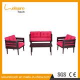 Conjunto de madera plástico del sofá del arte del paño de la manera de los muebles al aire libre de lujo del jardín