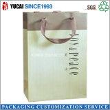 Bolso de compras de papel impreso insignia de encargo