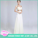 夕方党結婚式のための長く白い新婦付添人のスパンコールの服