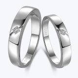 Joyas de Plata sencillo cortar CZ Plata Juego de anillo de la pareja