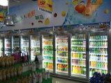 서리 제거 기능 슈퍼마켓 전시 냉장고를 가진 강화 유리