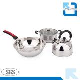 Ensemble de batterie de cuisine en acier inoxydable de haute qualité avec bouilloire et casseroles