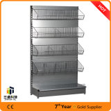 Single Side Back Plain Gondola Supermarket Shelf with Fence