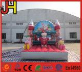 Casa de salto inflável do Natal, ligação em ponte inflável de Santa, casa inflável do salto de Santa