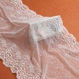 Tissu de lacet de textile de modèle de Tulle de polyester dans la couleur jaune