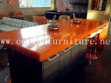 長いファースト・フードのチェアーテーブル、Corianのレストランのダイニングテーブル、大理石の上の現代宴会表