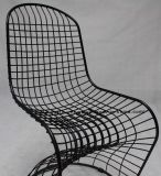 Реплика обедая стул стального провода Panton Stackable шнуров трактира черный