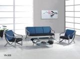 Sofá moderno do couro da recepção do hotel da mobília da sala de visitas do sofá requintado azul da mobília de escritório