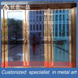 Customized Gold Mirror Stainless Steel Entrace Door with Tempered Glasses